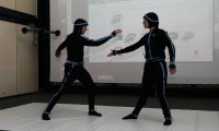 Performance mit der Motion-Capture-Anlage im Studiengang Virtual Design am Campus Kaiserslautern