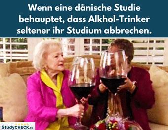 Wer Alkohol trinkt, bricht sein Studium seltener ab?