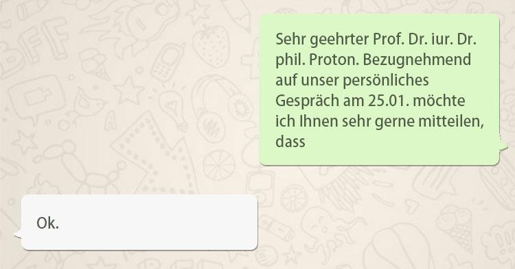 Die witzigsten WhatsApp Chats zwischen Prof und Student