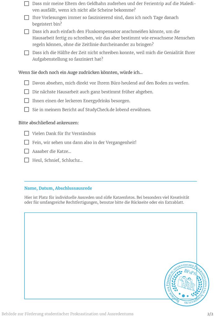 Dein Ausredenformular Für Zu Spät Abgegebene Hausarbeiten